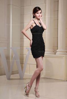 Beaded straps ruffled chiffon mini skirt dress for lady,US$120.00   Read More:     http://www.weddingspurple.com/index.php?r=fully-beaded-sweetheart-mermaid-dress-1.html