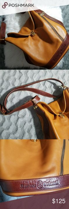 7ac1906d373e8e Marino Orlandi Two toned Leather Bag Two toned tan and brown leather bag by  Marino Orlandi