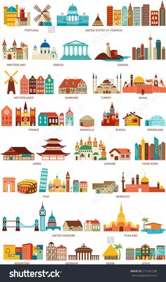Homes From The World Stock Vector Illustration 215181538 : Shutterstock Building Illustration, Travel Illustration, City Icon, Travel Icon, Map Design, Free Illustrations, Travel Posters, Royalty Free Images, Art Lessons