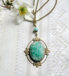 Spring green necklace vintage glass pendant by botanicalbird, $30.00