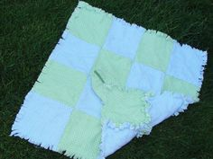 Green and Blue Polka Dot Security Rag Quilt Security by AuntBugs, $18.00