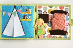 Dollhouse quiet book with felt paper doll Custom Travel by TomToy