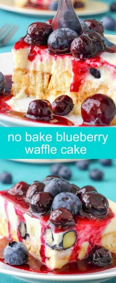 No Bake Blueberry Waffle Cake {An Easy No Bake Cake} waffle/no bake/cake Imagine waffles, blueberries & white chocolate. Put everything together, top with sweet blueberry sauce and no bake blueberry waffle cake is born!