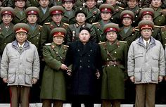 Kim Jong Un Poses with the North Korean military.