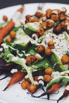 roasted carrot & avocado salad with curried chickpeas and creamy citrus dressing   RECIPE by hot for food