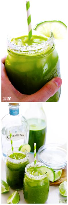 5-Minute Green Margaritas Recipe -- made easily with your favorite homemade or store-bought green juice!   gimmesomeoven.com