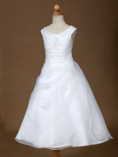 White Organza First Communion Dress - Flower Girl Dresses