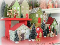 Cart Before The Horse: Little Houses for You and Me - cardboard house tutorial Diy Paper, Paper Crafts, Diy And Crafts, Crafts For Kids, Cute Little Houses, House Template, Holiday Crafts, Holiday Decor, Putz Houses