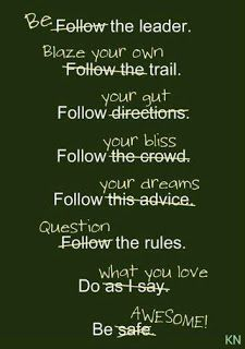 Be the leader. Blaze your own trail. Follow your gut. Follow your bliss. Follow your dreams. Question the rules. Do what you love Be awesome!