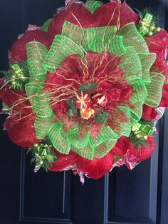 Red and Green Christmas wreath $50 Green Christmas, Christmas Wreaths, Craft Sale, Holiday Decor, Create, Fall, Red, Home Decor, Autumn