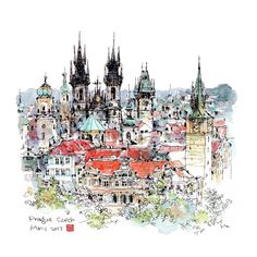 1,508 отметок «Нравится», 28 комментариев — B6速寫男 (@b6drawingman) в Instagram: «The Church Týn in Prague, Czech Republic #sketch #usk #urbansketch #urbansketcher #urbansketchers…»