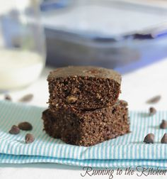 Triple chocolate protein cake bars for about 145 calories and 10g of protein!