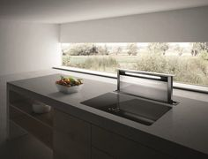 Slide-out Glass and Stainless Steel downdraft ADAGIO by Elica