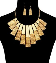 Gold Tone Metal Texturized Tribal Statement Bib Necklace Set Fashion Jewelry #FashionJewelry