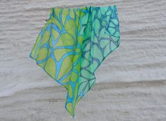 Square Silk Scarf Drops in green and blue by ArtStudioInfinity