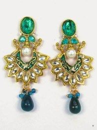 Green Floral Earrings With Stone Work & Gold Plating