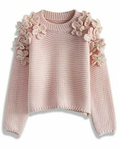 My Flowers and Pearls Sweater in Pink - Sweaters - Tops - Retro, Indie and Unique Fashion (Top Tejidos Outfit) Crochet Winter, Crochet Top, Crochet Mandala, Easy Crochet, Crochet Blouse, Waffle Shirt, Pink Sweater, Mohair Sweater, Sweater Shop