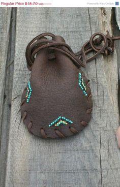 Beaded drawstring pouch Buckskin medicine bag Leather pouch Beaded crystal bag Fetish bag $15.90