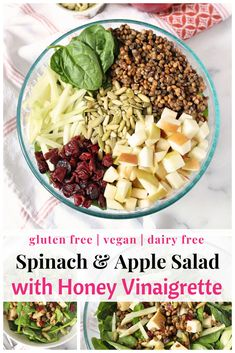 Fall Spinach and Apple Salad With Honey Vinaigrette - Chelsey Amer Spinach Apple Salad, Apple Salad Recipes, Fresh Salad Recipes, Spinach Salad Recipes, Healthy Salad Recipes, Fall Apple Salad Recipe, Healthy Food, Healthy Eating, Veggie Recipes