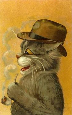 Louis wain, with a pipe Crazy Cat Lady, Crazy Cats, Belle Epoque, Maurice Careme, Louis Wain Cats, Cat Character, Vintage Cat, Vintage Images, Dog Art