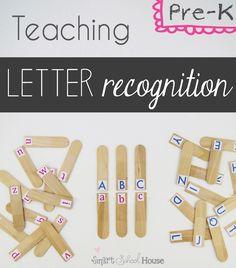 Smart School House: Letter Recognition: Pre-K Teaching Letter Recognition, Teaching Letters, Teaching Kids, Fun Learning, Learning Activities, Activities For Kids, Preschool Literacy, In Kindergarten, Childhood Education