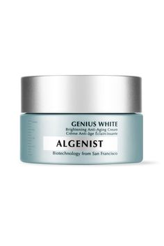 This moisturizer is rich enough to feel like you're doing your skin a serious solid, but light enough that you don't have to worry about destroying your pillowcase at night, this mix is just the perfect balance.   Algenist Genius White Brightening Anti-Aging; algenist.com