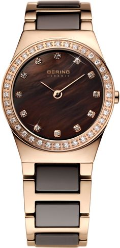 Ceramic link watches are so cool. Rose gold watch with brown ceramic links. Designer/brand: Bering. Ladies watch.