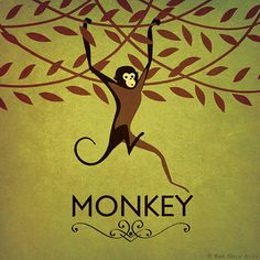 "Monkey Print Original Design Animal Alphabet Poster Art Deco Vintage 1930's 1940's Childrens Baby Nursery 7x7"" Square Cute Beautiful Retro"