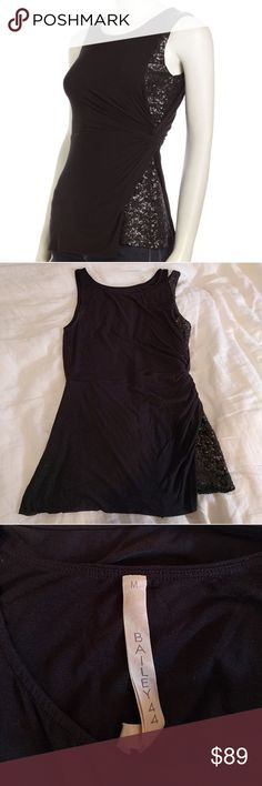 Bailey 44 Black Knit Sequin Top This shirt is very cute on and unique! The left side is twisted and reveals Sequin! Perfect for a night out! Size is medium and condition is EUC. The shirt is stretchy knit. Bailey 44 Tops