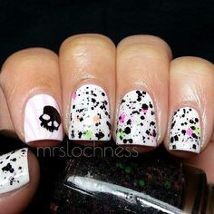 @Black Cat Lacquer's Punk Rock Girl over white and skull stamp