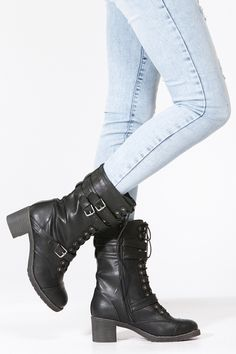 Strut in style with these trendy mid calf boots! Featuring textured leatherette upper, round toe, lace up front, three adjustable buckle straps, side zipper closure, chunky heel, stitching details, and finished with cushioned insole for comfort.Heel Height Approx: 2.25 inches