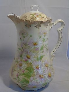 Bavaria Tirschenreuth Coffee Pot with Handpainted Daisies in Pottery & Glass, Pottery & China, China & Dinnerware   eBay
