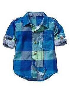 Convertible plaid shirt