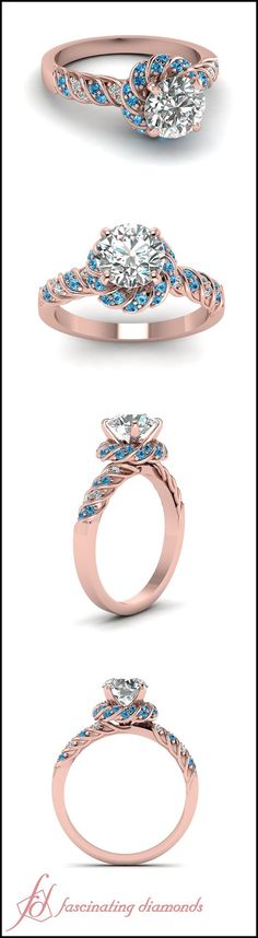 Twisted Rope Ring || Round Cut Diamond Halo Ring With Ice Blue Topaz In 14K Rose Gold
