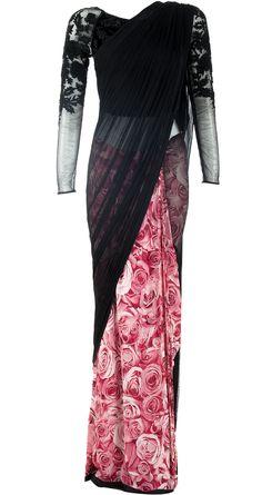 Black rose printed sari gown by VARUN BAHL. http://www.perniaspopupshop.com/designers-1/varun-bahl