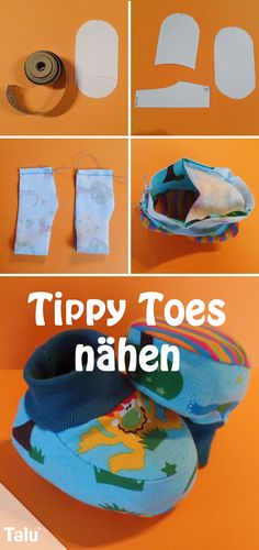 "Sewing ""Tippy Toes"" baby shoes yourself – free instructions Kostenlose Anleitung – Tippy Toes / Babyschuhe nähen – Talu. Sewing Hacks, Sewing Tutorials, Sewing Patterns, Sewing Tips, Fabric Crafts, Sewing Crafts, Sewing Projects, Sewing For Kids, Baby Sewing"