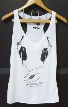 Headphone white Tank top size XSS Women Teen by CuteClassic. #music #tshirt #tanktop http://www.pinterest.com/TheHitman14/the-t-shirt-%2B/