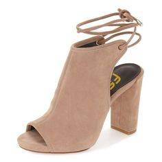 Khaki Slingback Booties (50.125 CLP) ❤ liked on Polyvore featuring shoes, boots, ankle booties, heels, heeled ankle booties, heeled booties, khaki booties, slingback booties and khaki boots
