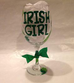 Irish Girl Wine Glass on Etsy, $15.00