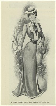 """A neat serge gown for river or seaside"" from 1900. NYPL Victorian/ Edwardian fashion plate."