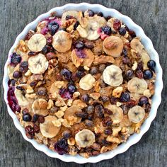 Baked banana, blueberry and raisin oatmeal: vegan, gluten free, dairy free