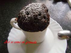 Microondas: Brownie o bizcocho de chocolate en taza. Probaré esta receta, a ver si sabe mejor y tiene mejor textura que la anterior.