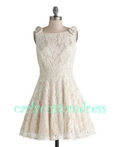 Short Champgane Lace Bridesmaid Dress/Ivory by CarlyCustomDress, $85.99