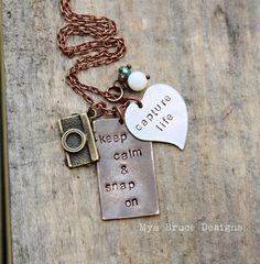 Mixed metal photographer necklace  keep calm por MyaBruceDesigns, $36.00