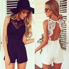 Women's Sexy/Casual/Lace/Cute/Party Round Sleeveless Jumpsuit (Cotton Blend/Lace) – USD $ 7.99