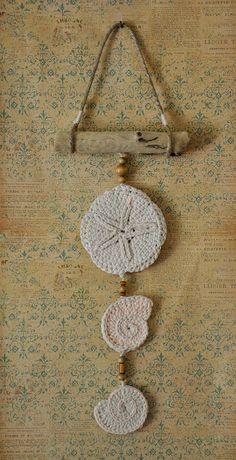 coastal cool crochet seashells wall hanging by talonJstudios, $45.00