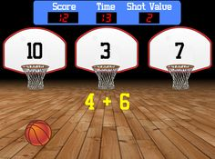 Here's a fun way for those sports fans in your classroom to practice their math facts. Shoot the basketball into the basket that shows the correct answer to the math problem. Students can use a soft ball to toss at SMART Board to select answer choice. Math Classroom, Kindergarten Math, Teaching Math, Math Teacher, Fun Math, Math Activities, Math Addition, Basic Math, 1st Grade Math