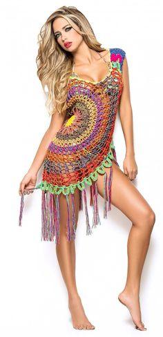 Inspiring Crochet Idea ♥ Beautiful crochet bikini cover up/Dress by AmaBellaBoutique Moda Crochet, Crochet Tunic, Crochet Clothes, Knit Crochet, Crochet Summer, Crochet Dresses, Crochet Bathing Suits, Bikinis Crochet, Crochet Woman