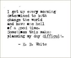 determined to have one he'll of a good time change the world economy E.B. White