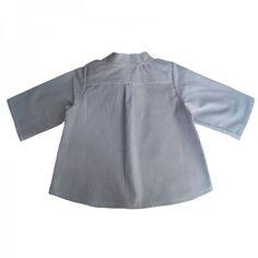 Chemise col mao GASPARD-dos-rayure bleu/blanc